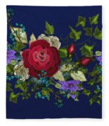 Pink Metallic Rose On Blue Fleece Blanket