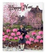 Pink New Year Greeting Fleece Blanket