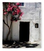 Pink Oleander By The Door Fleece Blanket
