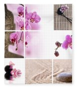 Pink Orchid And Buddha Collage Fleece Blanket