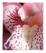 Pink Orchid Closeup Fleece Blanket