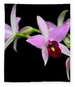 Pink Orchids Cascading Fleece Blanket