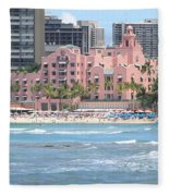 Pink Palace On Waikiki Beach Fleece Blanket