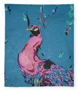 Pink Peacock Full View Fleece Blanket