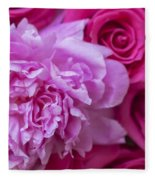 Pink Peonies And Pink Roses Fleece Blanket