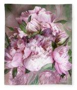 Pink Peonies Bouquet - Square Fleece Blanket