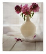 Pink Peonies In A Pot On The Wooden Table Fleece Blanket
