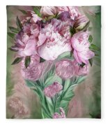 Pink Peonies In Peony Vase Fleece Blanket