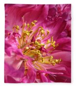 Pink Peony Flower Macro Fleece Blanket