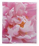 Pink Peony Flower Waving Petals  Fleece Blanket