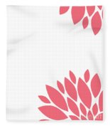 Pink Peony Flowers Fleece Blanket