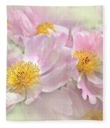 Pink Peony Flowers Parade Fleece Blanket