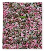 Pink Petals On Stones  Fleece Blanket