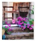Pink Petunias And Watering Cans Fleece Blanket