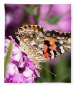Pink Phlox With Butterfly Fleece Blanket