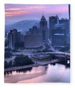 Pink Pittsburgh Morning Fleece Blanket