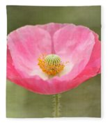 Pink Poppy Flower Fleece Blanket