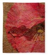 Pink Poppy Gold Leaf Fleece Blanket