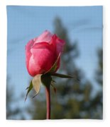 Pink Rose And Trees Fleece Blanket