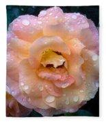 Pink Rose Bathed In Rain Fleece Blanket