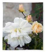 Pink Rose Buds At Carmel By The Sea Mission Fleece Blanket