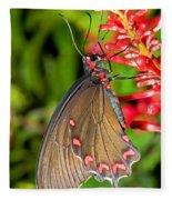 Pink Rose Butterfly Fleece Blanket