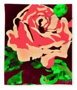 Pink Rose Impression Fleece Blanket