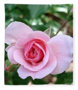 Pink Rose - Square Print Fleece Blanket