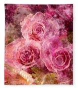 Pink Roses And Pearls Fleece Blanket