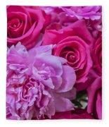 Pink Roses And Peonies Please Fleece Blanket