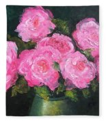 Pink Roses In A Brass Vase Fleece Blanket