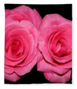 Pink Roses With Brush Stroke Effects Fleece Blanket