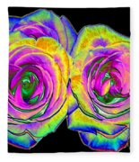 Pink Roses With Colored Foil Effects Fleece Blanket