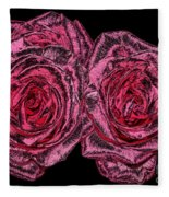 Pink Roses With Dark And Rough Chrome  Effects Fleece Blanket