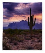 Pink Skies At The Superstitions Fleece Blanket