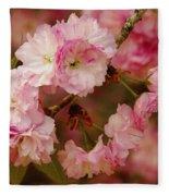 Pink Spring Blossoms Fleece Blanket