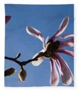Pink Spring - Blue Sky And Magnolia Blossoms Fleece Blanket