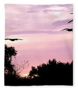 Pink Sunrise Geese Silhouette Fleece Blanket