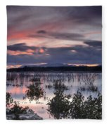 Pink Sunset At The Lake Fleece Blanket