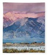 Pink Sunset On Taos Mountain Fleece Blanket