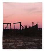 Pink Sunset Over Corral Fleece Blanket