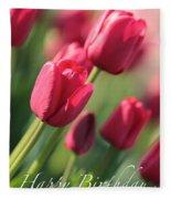 Pink Tulip Dream Birthday Card Fleece Blanket