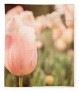 Pink Tulip Field Fleece Blanket
