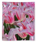 Pink Tulips 3 Fleece Blanket