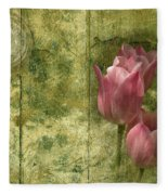 Pink Tulips And Old Clock Fleece Blanket
