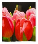 Pink Tulips In A Row Fleece Blanket