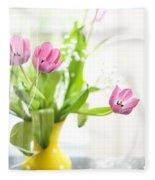 Pink Tulips In Yellow Vase Fleece Blanket