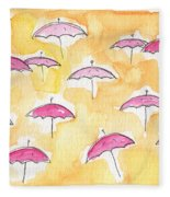 Pink Umbrellas Fleece Blanket