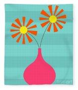 Pink Vase On Blue Fleece Blanket