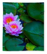 Pink Water Lilies - Lotus Fleece Blanket